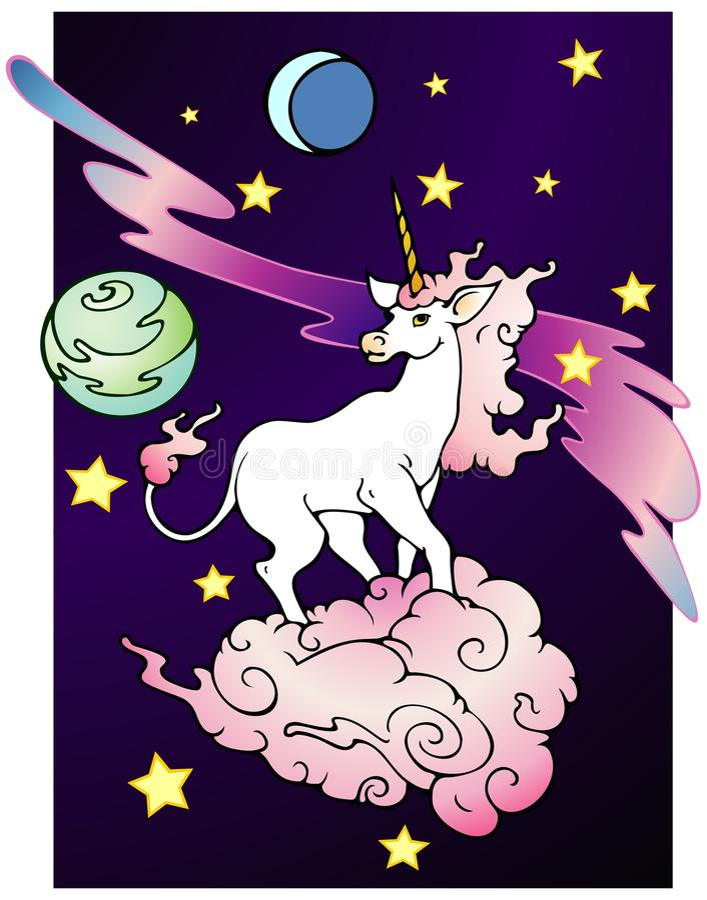 Unicorno dello spazio illustrazione vettoriale