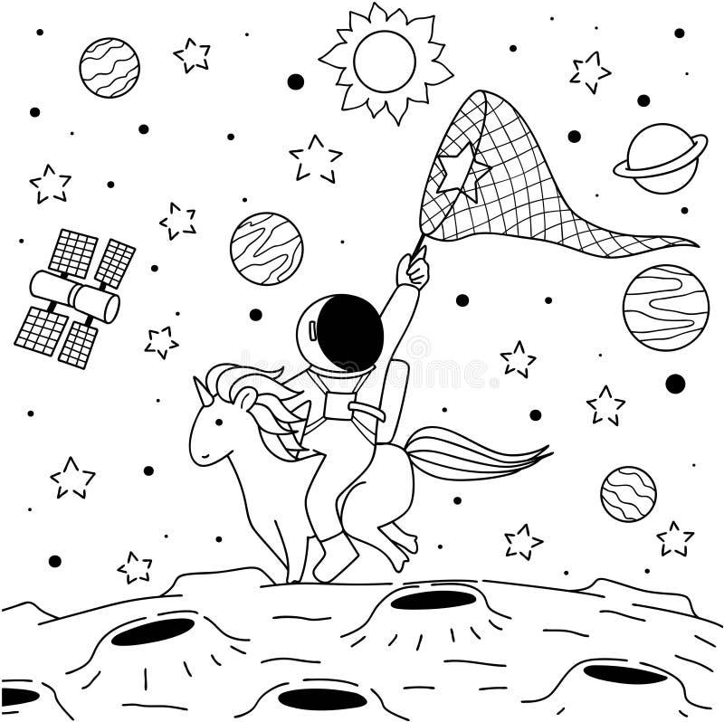 Unicorno di giro dell'astronauta royalty illustrazione gratis
