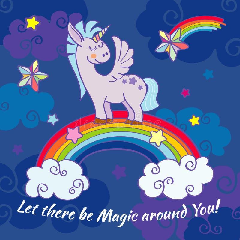 Unicorno disegnato a mano di vettore che sta su un arcobaleno illustrazione vettoriale