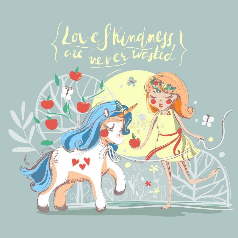 Unicorno disegnato a mano e carta sveglia della ragazza Annata, bella illustrazione imprecisa della bambina che alimenta l'unicor fotografia stock
