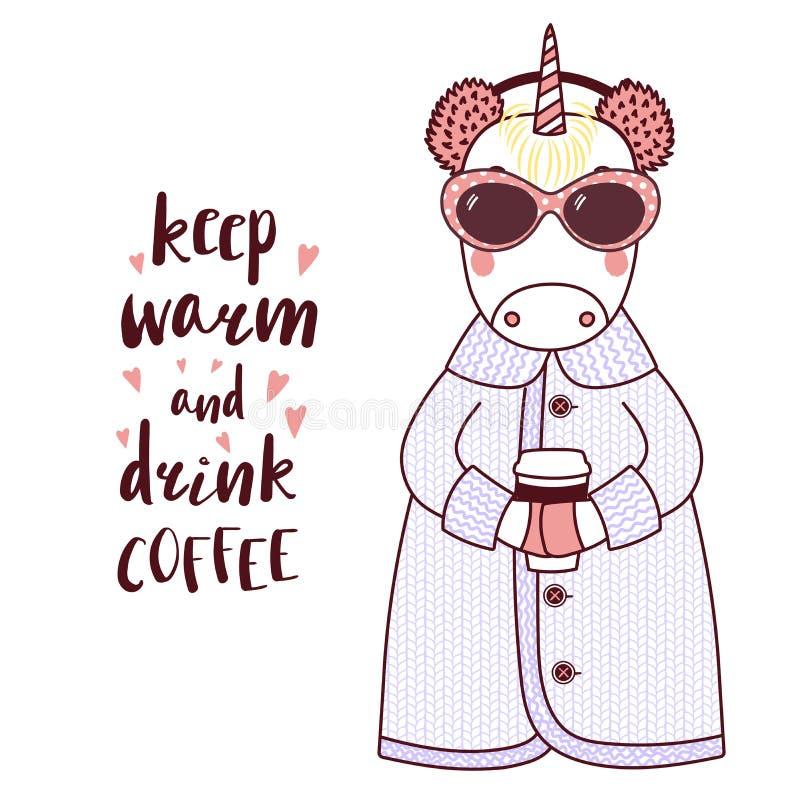 Unicorno divertente sveglio in un cardigan tricottato royalty illustrazione gratis