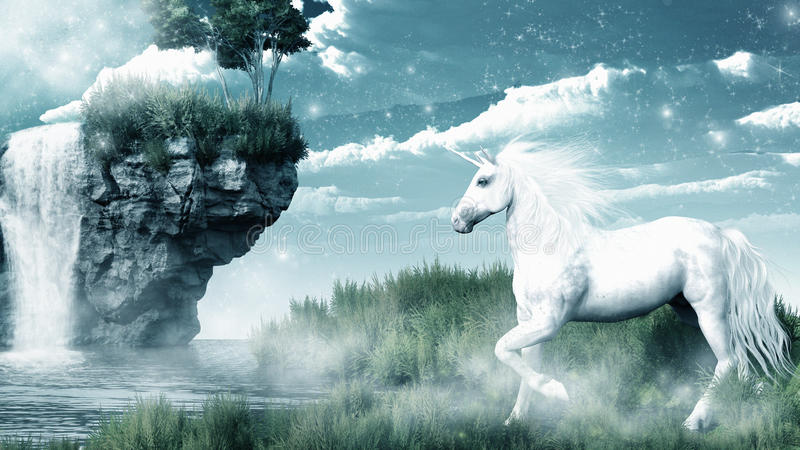 Unicorno e cascata illustrazione vettoriale