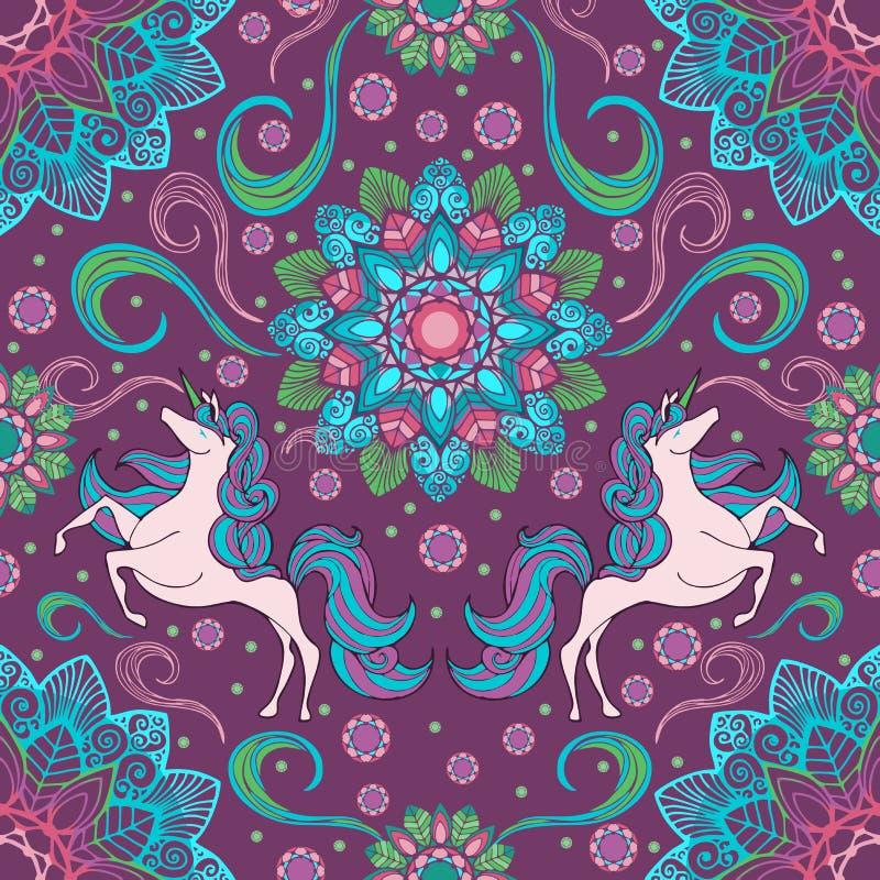 Unicorno e fiore della mandala di boho con il fondo senza cuciture del modello di colore di fantasia illustrazione di stock