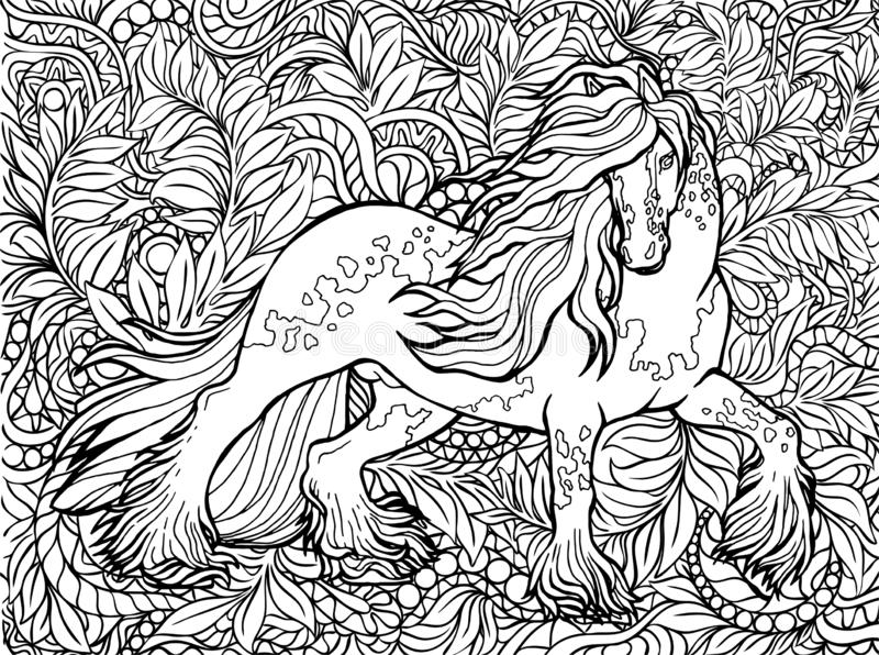 Unicorno e fiori Animale magico Illustrazione di vettore In bianco e nero, monocromatico Pagine del libro da colorare per gli adu royalty illustrazione gratis