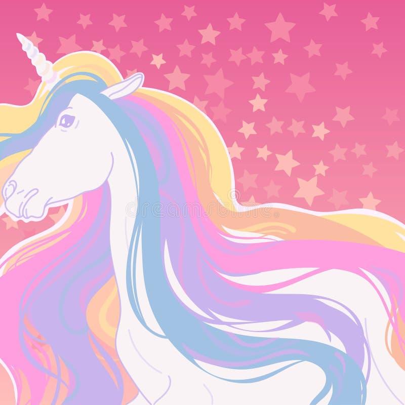 unicorno favoloso con una criniera lunga immagine stock