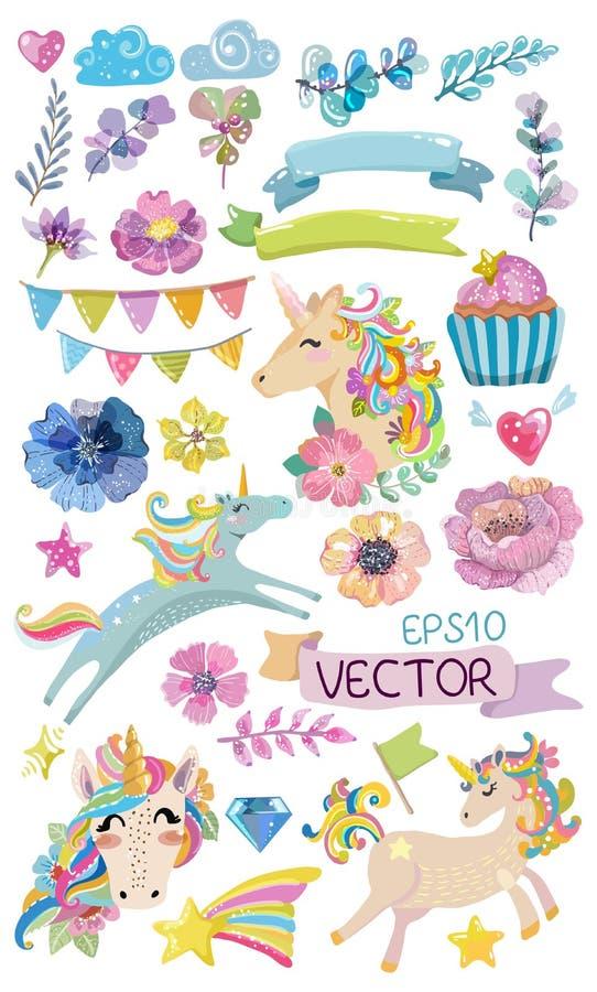 Unicorno magico dell'acquerello sveglio con i fiori illustrazione di stock
