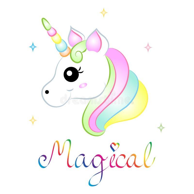 Unicorno magico di vettore sveglio del fumetto illustrazione vettoriale
