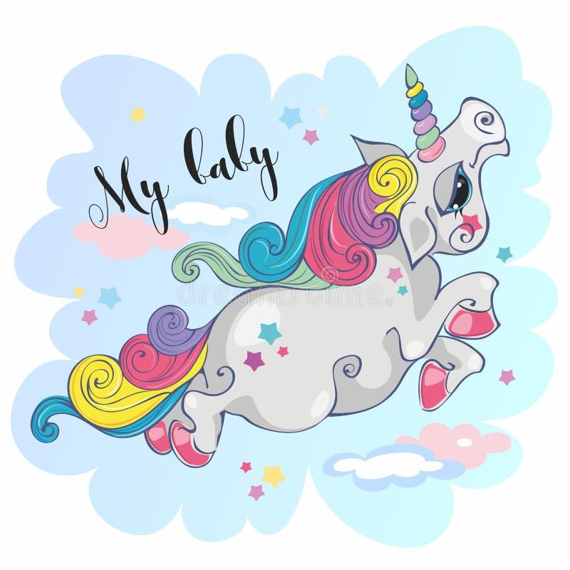 Unicorno magico Il mio bambino Cavallino leggiadramente Criniera dell'arcobaleno stile fumetto Vettore fotografia stock