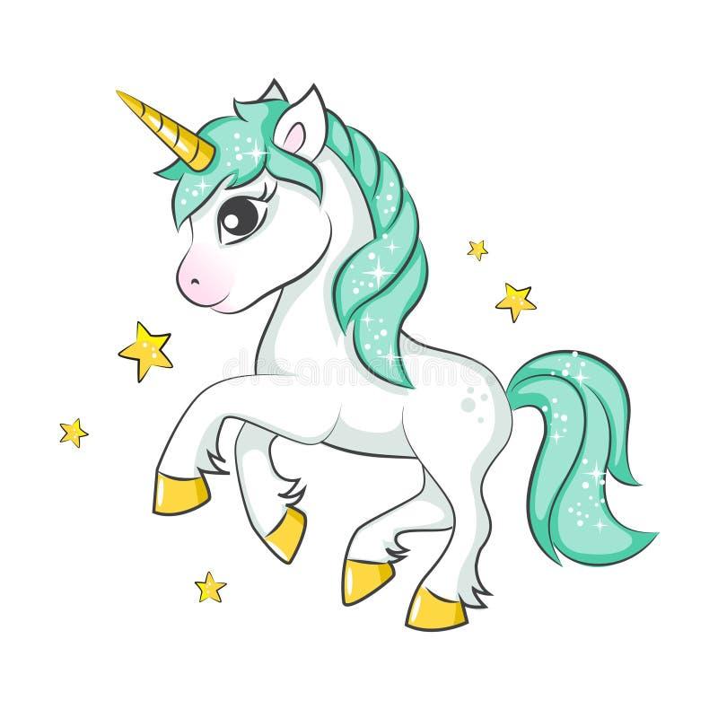 Unicorno magico sveglio illustrazione di stock