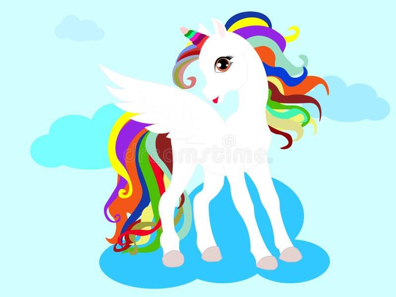 Unicorno magico sveglio di web Progettazione di vettore isolata su fondo bianco Stampa per la maglietta o l'autoadesivo royalty illustrazione gratis