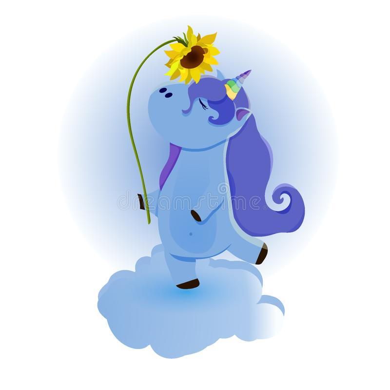 Unicorno magico sveglio Progettazione di vettore isolata su fondo bianco Stampa per la maglietta o l'autoadesivo Disegno romantic royalty illustrazione gratis