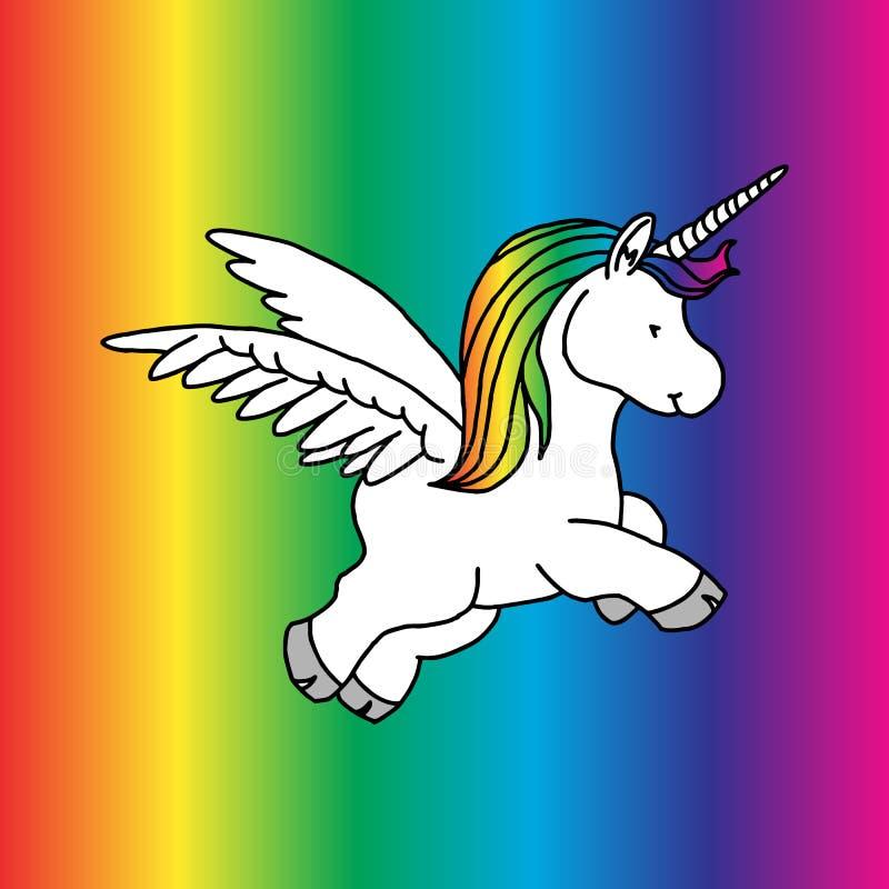 Unicorno magico sveglio, progettazione di vettore isolato su fondo bianco Stampa per la maglietta o l'autoadesivo Disegno romanti illustrazione vettoriale