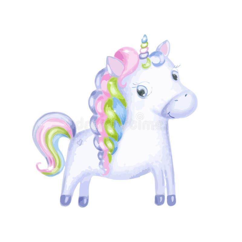 Unicorno magico sveglio Progettazione di vettore su fondo bianco Stampa per la maglietta Illustrazione della scuola materna per i illustrazione vettoriale