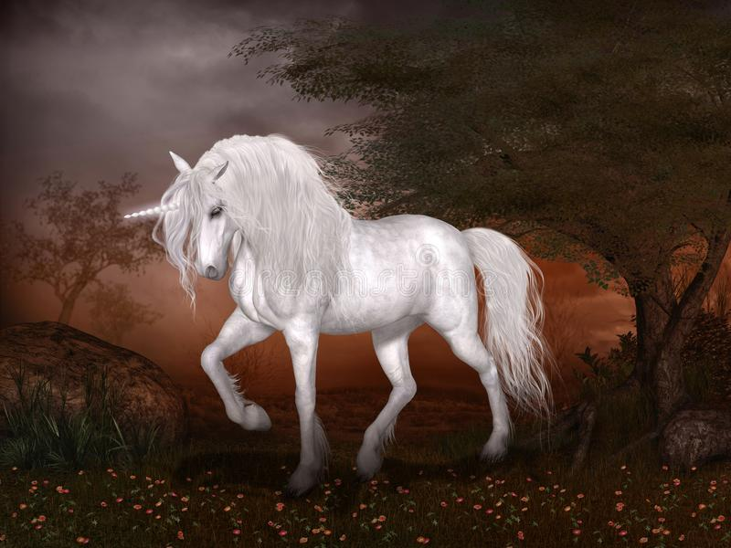 Unicorno magico in un paesaggio di favola illustrazione vettoriale