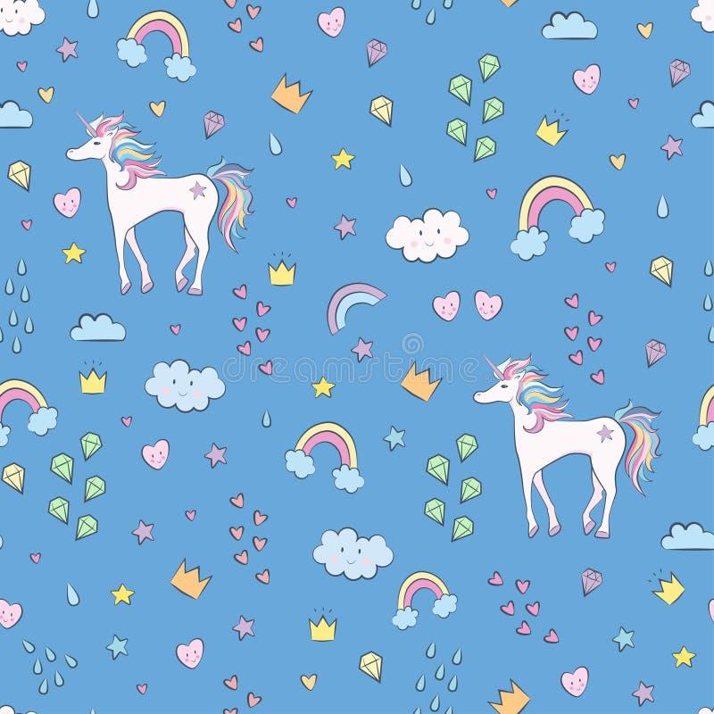 Unicorno nel colore pastello con il modello senza cuciture delle stelle illustrazione vettoriale