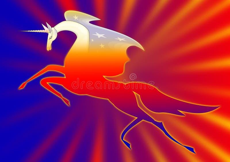 Unicorno nel colore rosso royalty illustrazione gratis
