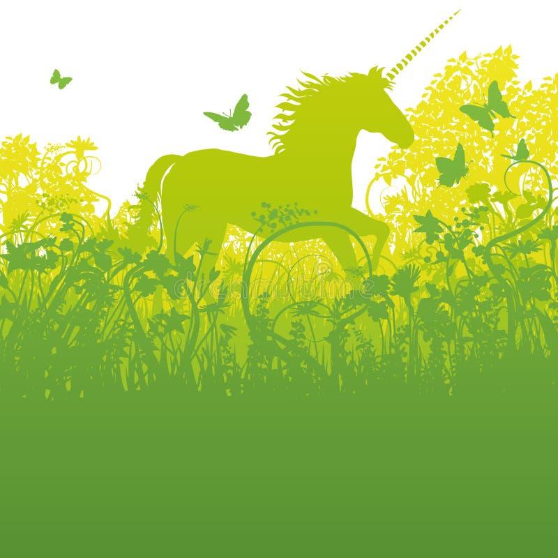 Unicorno nella foresta illustrazione vettoriale