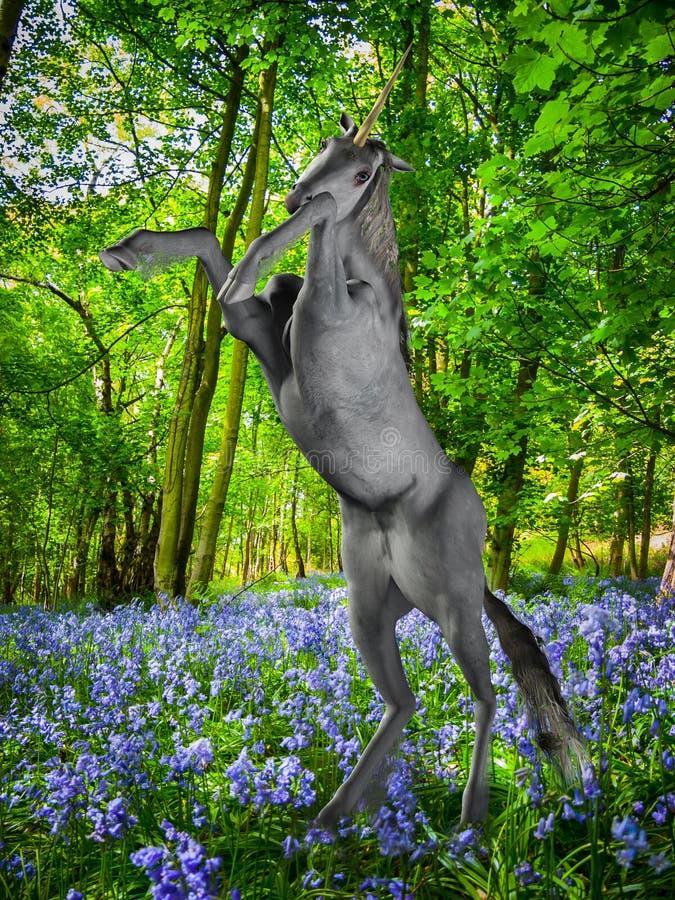 Unicorno nella foresta di fantasia royalty illustrazione gratis