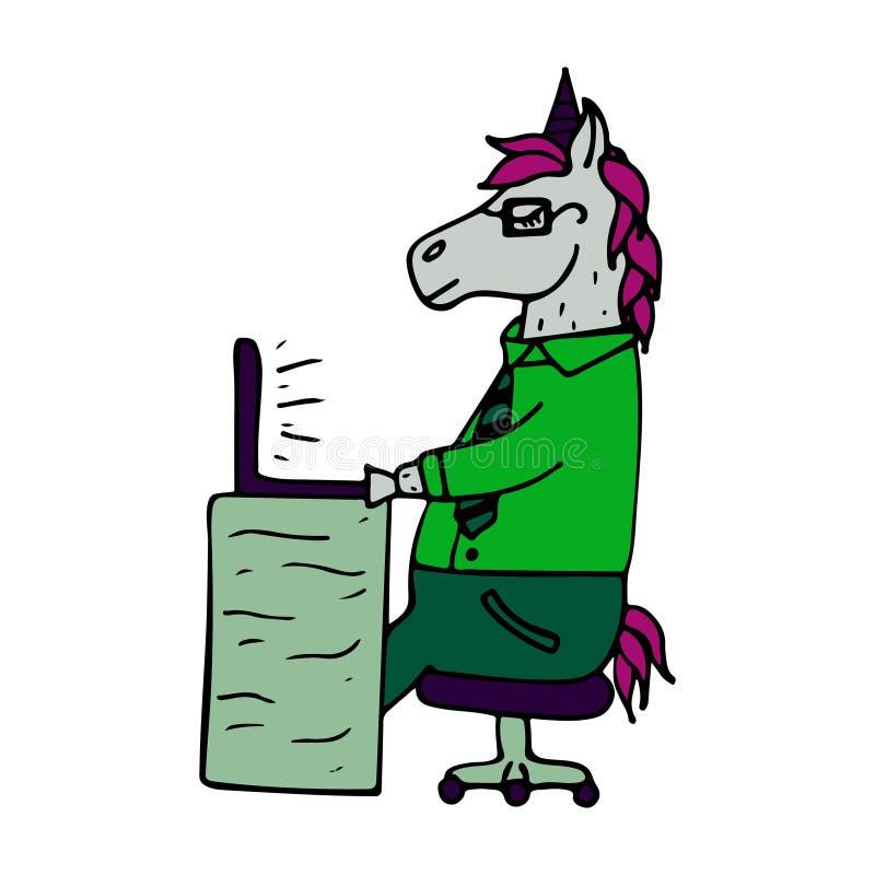 Unicorno-responsabile disegnato a mano adorabile che lavora dietro il computer portatile royalty illustrazione gratis