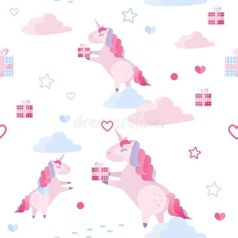 Unicorno senza cuciture del modello di vettore sveglio, nuvole, cuori, contenitori di regalo su fondo bianco Modello di festa per royalty illustrazione gratis