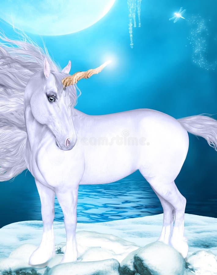 Unicorno sotto una luna piena royalty illustrazione gratis