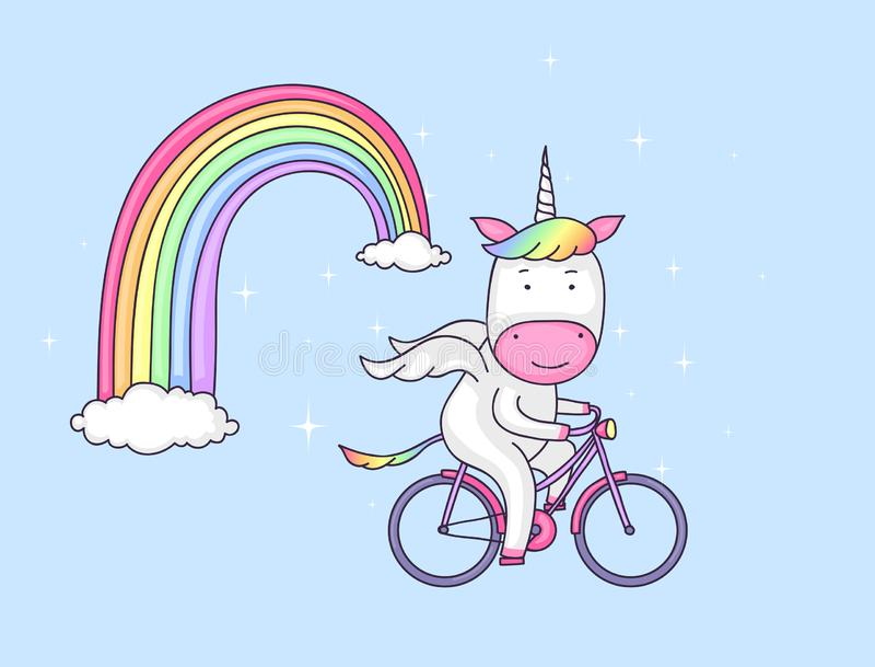Unicorno su una bicicletta royalty illustrazione gratis
