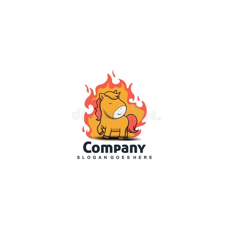 Unicorno sul vettore di progettazione di logo del fuoco illustrazione di stock