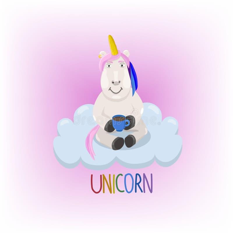 Unicorno sull'illustrazione di vettore della nuvola illustrazione di stock