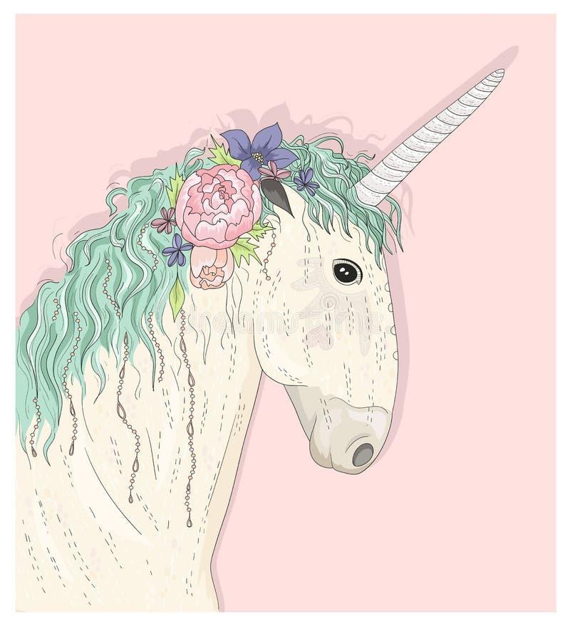 Unicorno sveglio con i fiori Vettore di favola illustrazione di stock