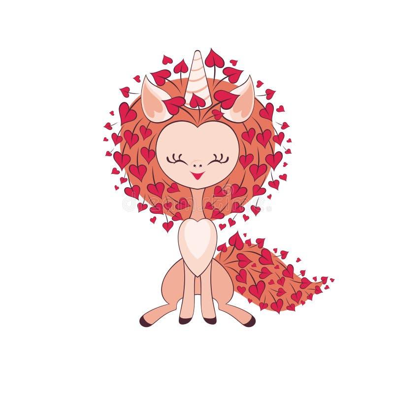 unicorno sveglio del biglietto di S. Valentino illustrazione di stock