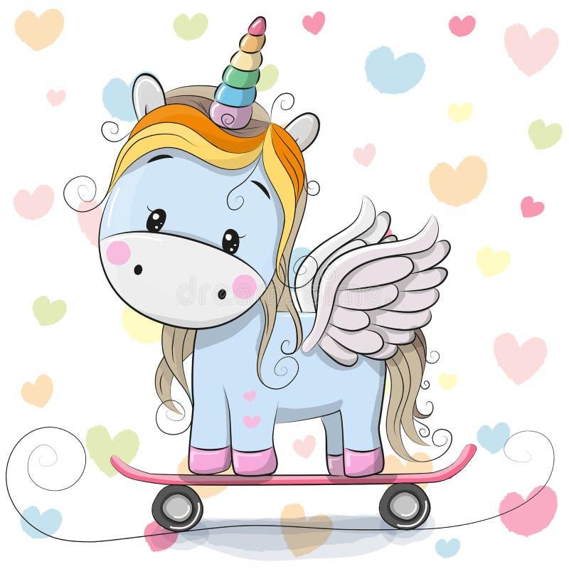 Unicorno sveglio del blu del fumetto royalty illustrazione gratis
