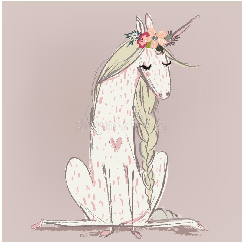 unicorno sveglio del fumetto illustrazione di stock