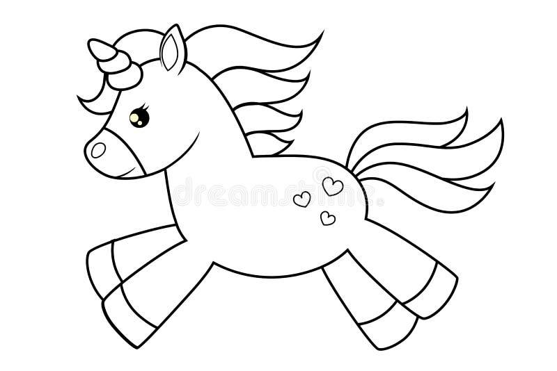 Unicorno Sveglio Del Fumetto Illustrazione In Bianco E Nero Di