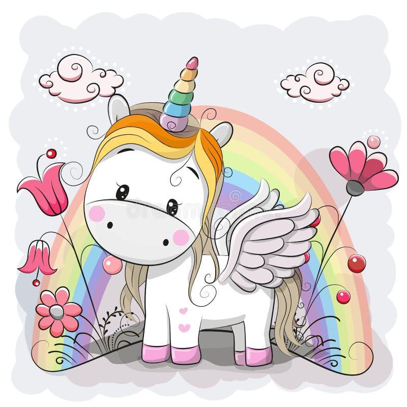 Unicorno sveglio del fumetto sul prato illustrazione di stock
