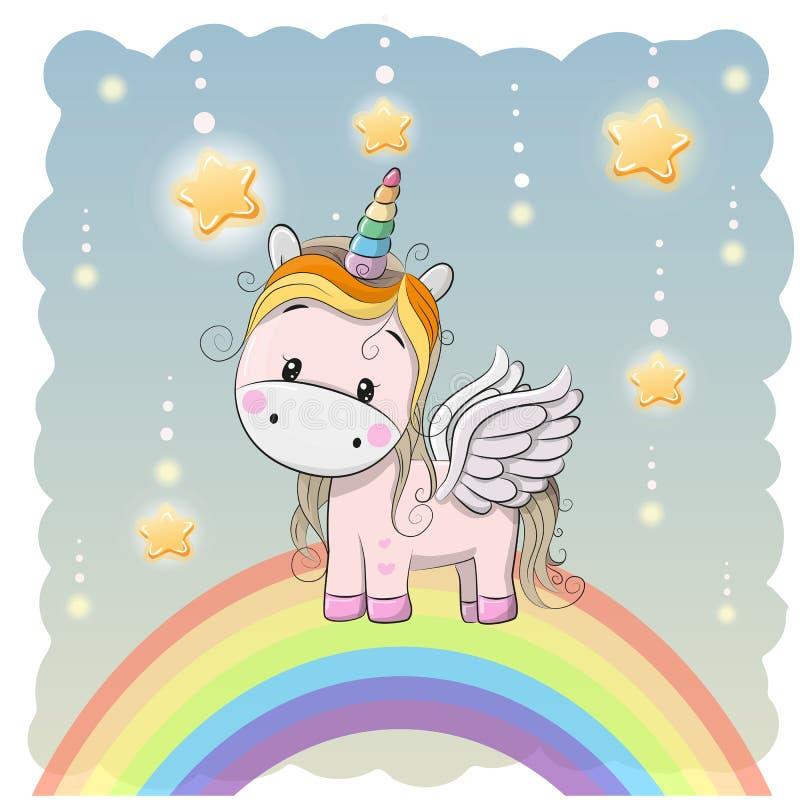 Unicorno sveglio del fumetto sull'arcobaleno illustrazione vettoriale