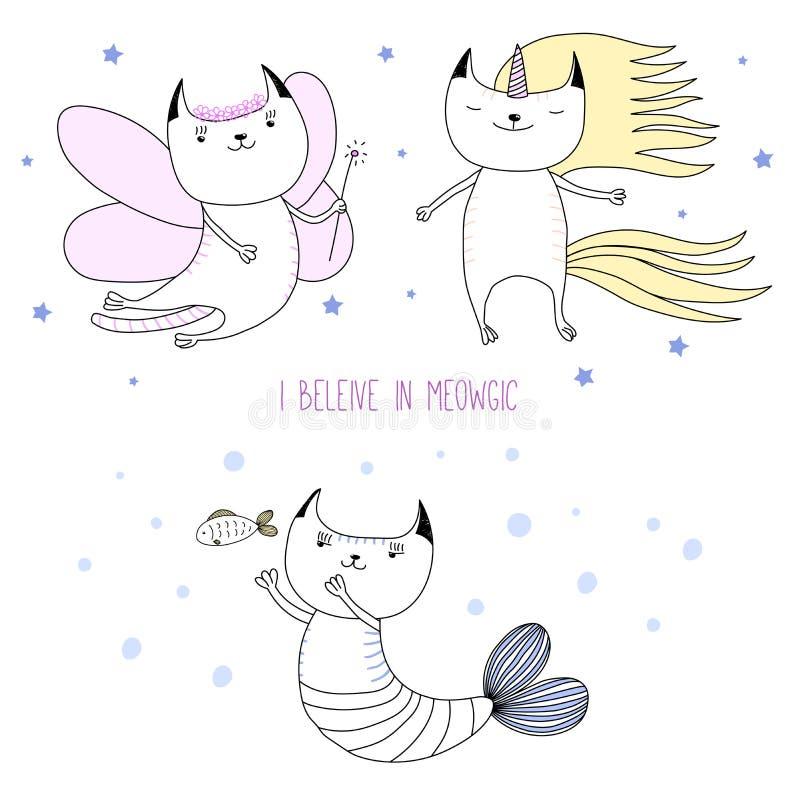 Unicorno sveglio del gatto, fatato, sirena illustrazione di stock