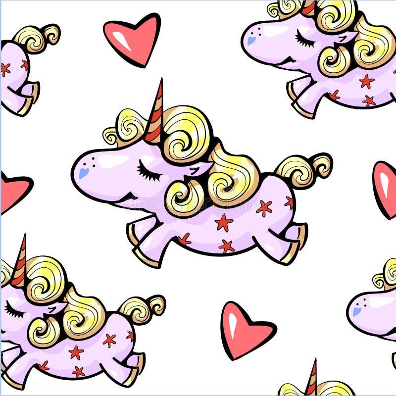 Unicorno sveglio del modello senza cuciture dell'unicorno che sorride con la volata dei cuori royalty illustrazione gratis