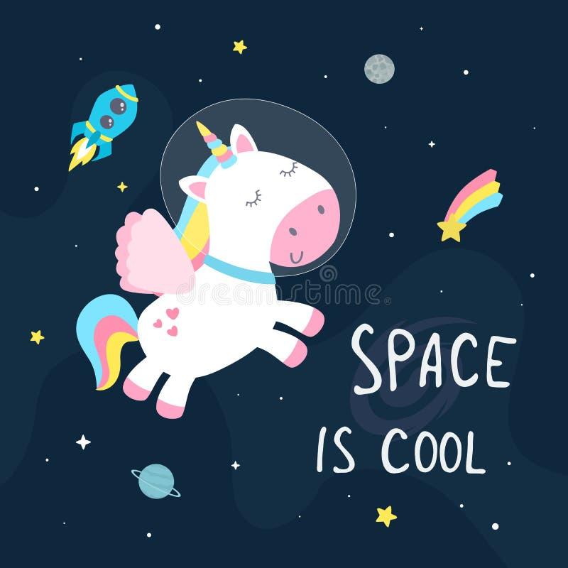 Unicorno sveglio dello spazio royalty illustrazione gratis