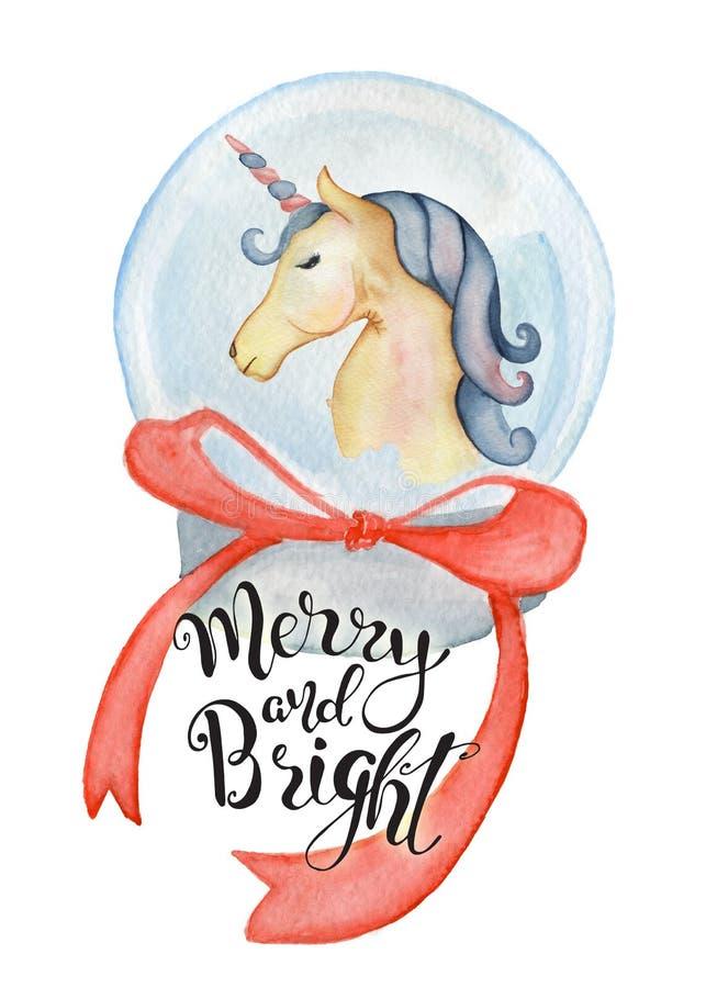 Unicorno sveglio dentro l'illustrazione disegnata a mano di Buon Natale dell'acquerello del globo di Natale illustrazione di stock