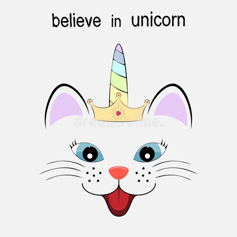 Unicorno sveglio di principessa del gatto di fantasia Cartolina d'auguri Illustrazione di vettore royalty illustrazione gratis