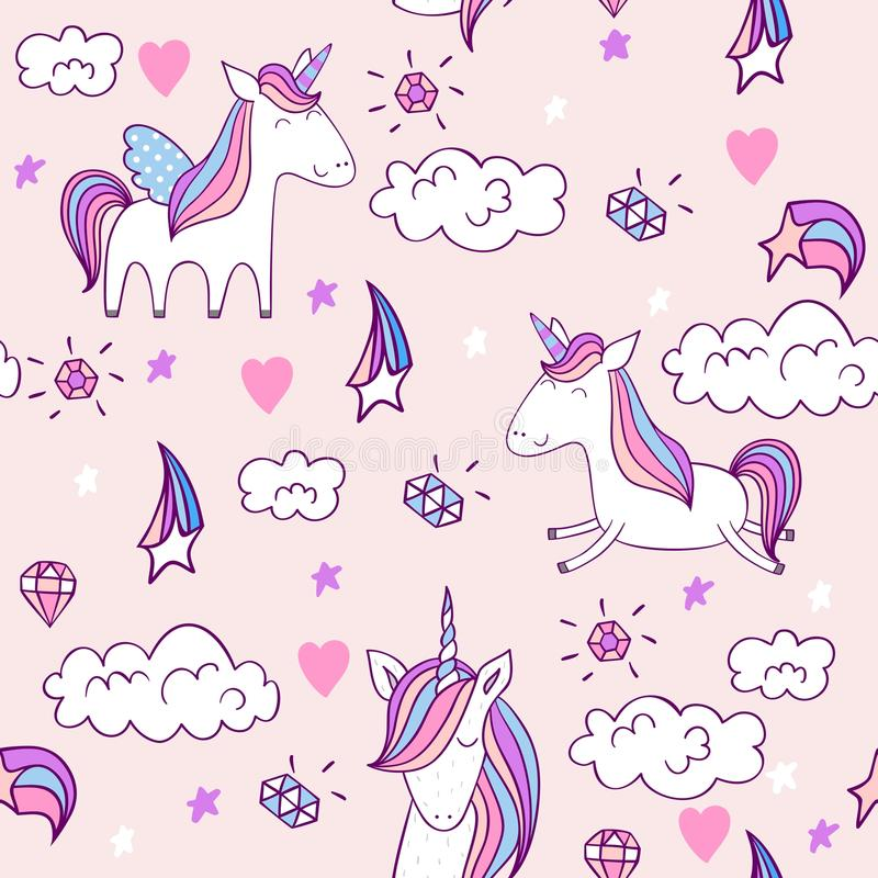 Unicorno sveglio magico royalty illustrazione gratis