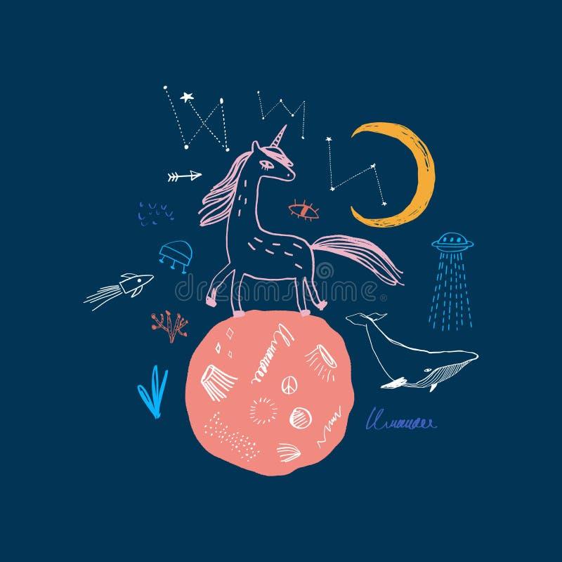 Unicorno sveglio magico che cammina sulla luna Manifesto della scuola materna, cartolina, illustrazione di stock