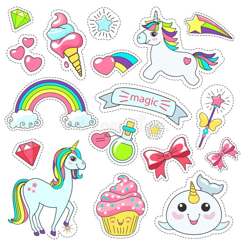 Unicorno sveglio magico, stelle sulle nuvole manifesto, cartolina d'auguri, illustrazione di vettore illustrazione di stock