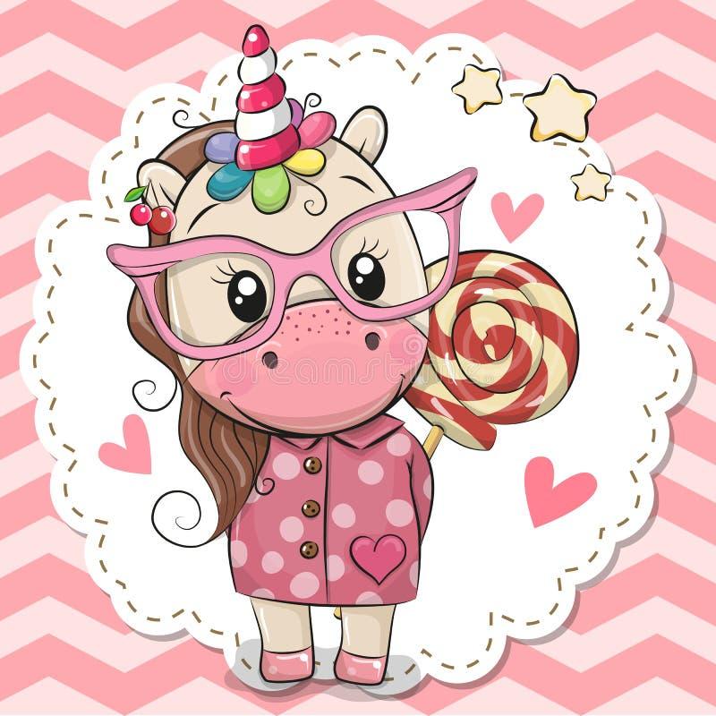 Unicorno sveglio in occhiali rosa royalty illustrazione gratis