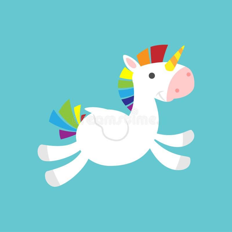 Unicorno sveglio volante del bambino su fondo blu illustrazione di stock