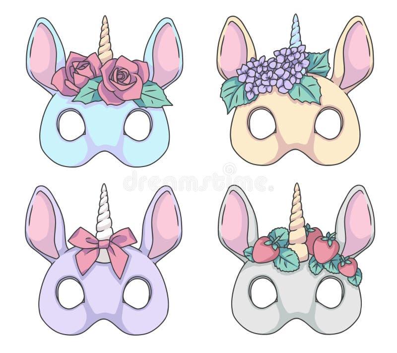 Unicorno variopinto di stile del fumetto con i disegni della maschera di vettore delle fasce del fiore illustrazione vettoriale