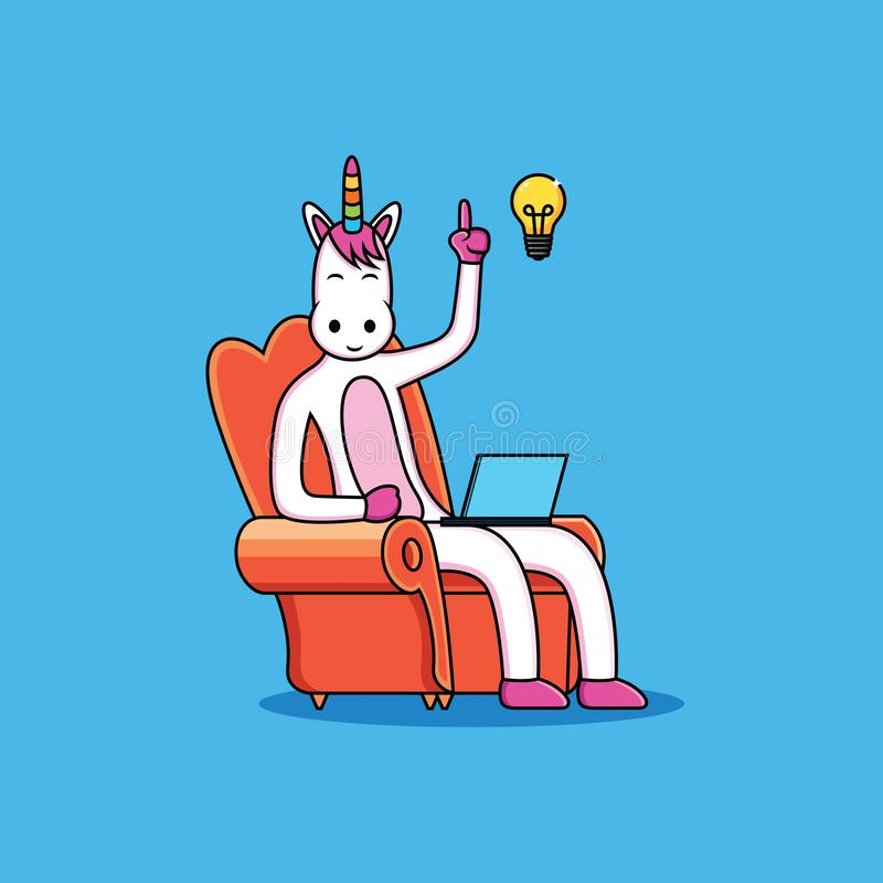 Unicorns cartoon have ideas with fun face. Design, horn, horse, mane, white, illustration, symbol, , beautiful, drawing, style, trendy, junior, background royalty free illustration