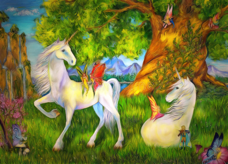 Unicorns and elves royalty free stock image