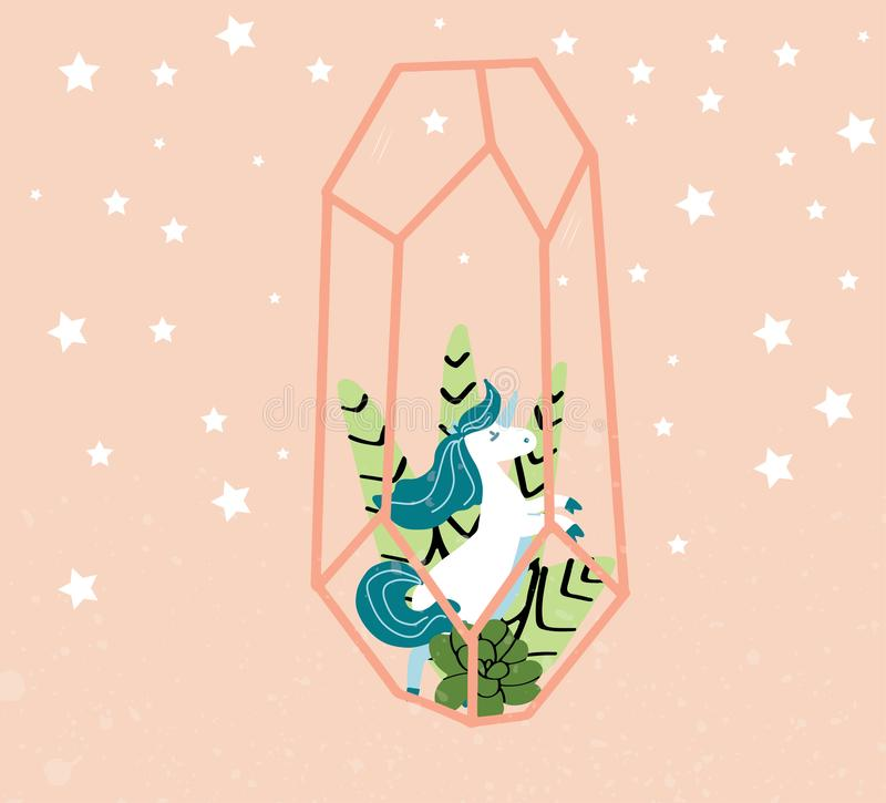 Unicorns on a floral background with a fairy forest. Vector  Romantic hand drawing illustration royalty free illustration