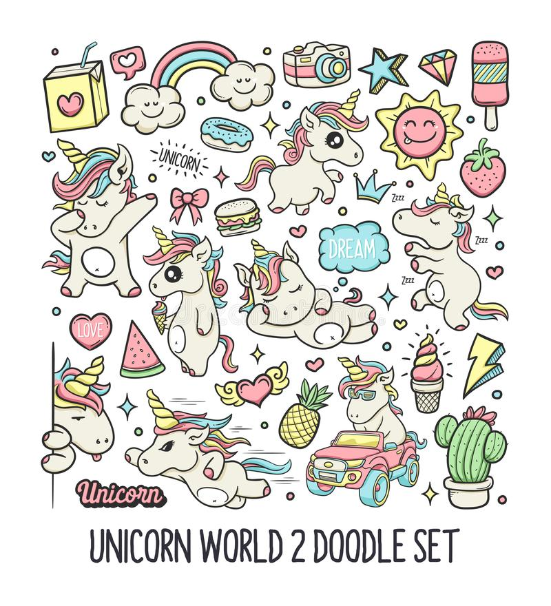Unicorns Hand Drawn Doodle Color Vector 2 royalty free stock photo